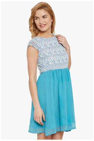 With Dress Vanca At Waist Skater Gathers The In Blue Print 8EYdqw