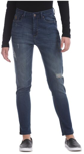 Flying Machine Women Skinny Fit High Rise Washed Jeans - Blue
