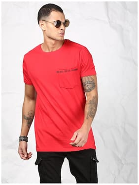 SKULT by Shahid Kapoor Men Slim fit Round neck Solid T-Shirt - Red