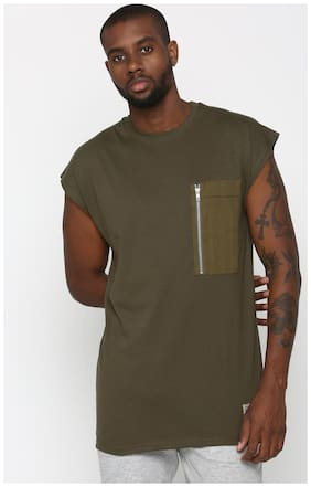 SKULT by Shahid Kapoor Men Regular fit Crew neck Solid T-Shirt - Green