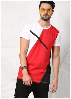 SKULT By Shahid Kapoor Men Red & White Regular Fit MidLine Tee