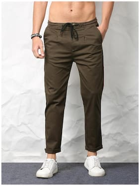 SKULT by Shahid Kapoor Men Olive Green Casual Trousers