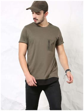 SKULT Men Olive Green Relaxed Fit T-shirt