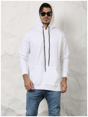 SKULT Men White Relaxed Fit Hooded Sweatshirt