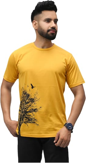 SKYBEN Men Yellow Regular fit Cotton Blend Round neck T-Shirt - Pack Of 1