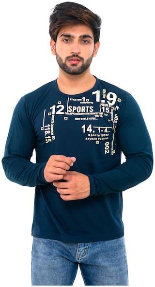 SKYBEN Men Blue Regular fit Cotton Blend Round Neck T-Shirt