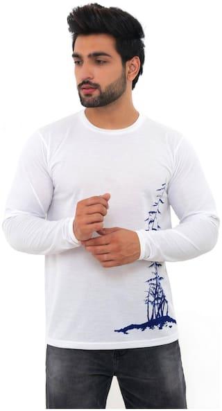SKYBEN Men White Regular fit Cotton Blend Round Neck T-Shirt