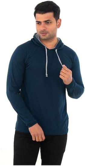 SKYBEN Men Blue Regular fit Cotton Blend Hood T-Shirt - Pack Of 1