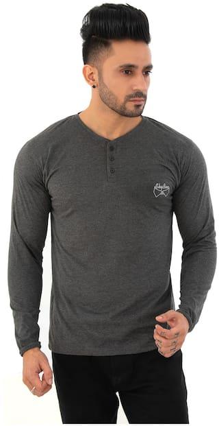 SKYBEN Men Grey Regular fit Cotton Blend Henley Neck T-Shirt