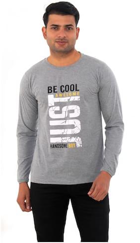 SKYBEN Men Grey Regular fit Cotton Blend Round neck T-Shirt - Pack Of 1