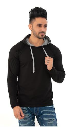 SKYBEN Men Black Regular fit Cotton Blend Hood T-Shirt - Pack Of 1