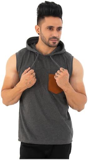 SKYBEN Men Grey Regular fit Cotton Blend Hood T-Shirt - Pack Of 1