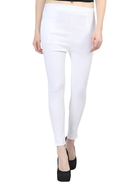 SkyDuck Solid Women Jegging-White-M