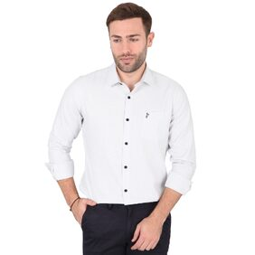 Skywater Men's Grey Colour Printed Full Sleeves Casual Shirt