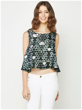 Global Desi Sleeveless Honeycomb Print Grey Crop Top