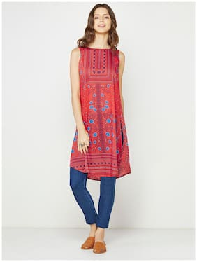 Global Desi Sleeveless Red Printed Tunic