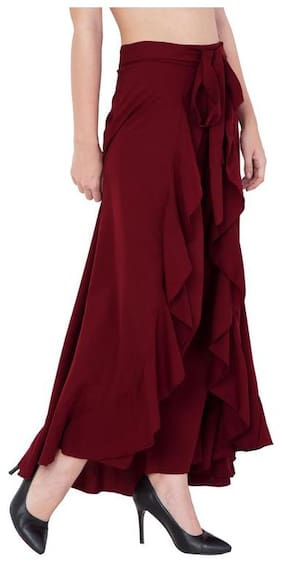 SLENOR Women Crepe Maroon Skirt