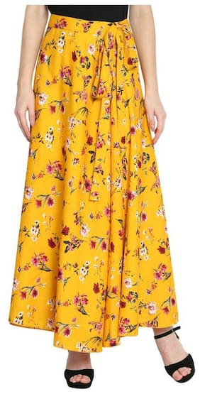 SLENOR Printed Flared skirt Maxi Skirt - Yellow