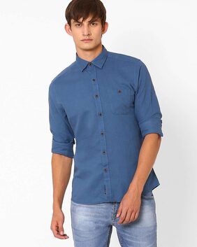 Netplay By Reliance Trends Men Slim Fit Casual shirt - Blue