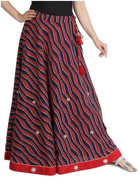 KOTTON TRENDS Indian print A-line skirt Maxi Skirt - Red