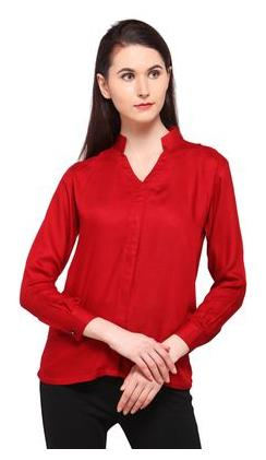 Smarty Pants Women Rayon Red Solid Mandarin Collar Formal Shirt