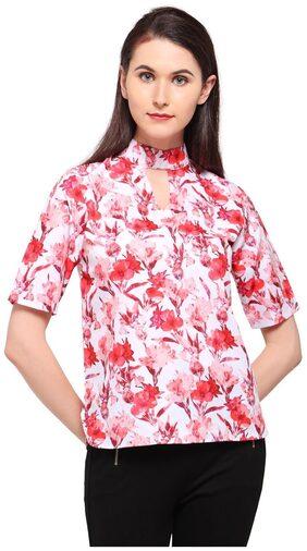 Smarty Pants Women Orange Floral Print choker neck Top