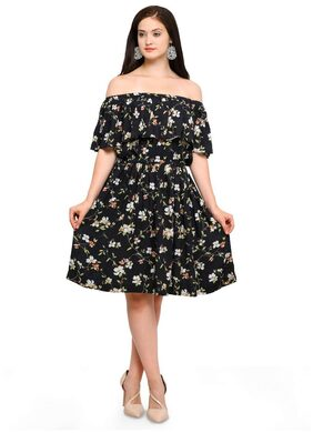 Smarty Pants Women Rayon Black Floral Off shoulder Flair Dress SMD-148-S