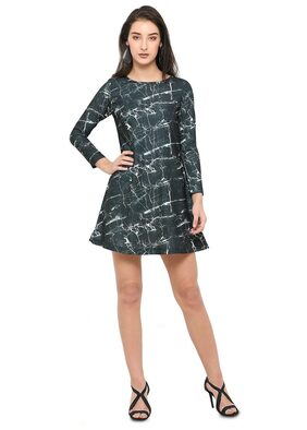 Smarty Pants Women's Black Marble Print Flair Dress