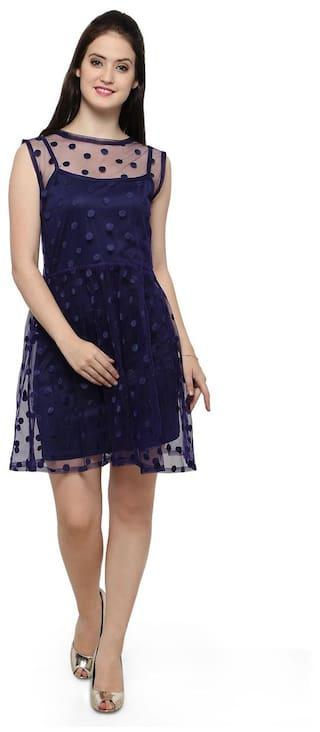 Smarty Pants Women's blue solid ruffle dress. (SMD-70B)