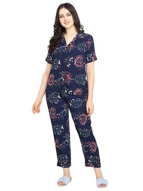 Smarty Pants Women Cotton Floral Top and Pyjama Set - Blue