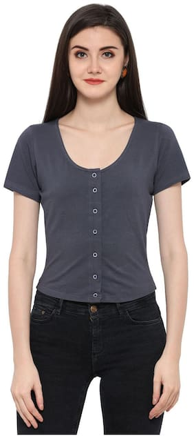 Smarty Pants Cotton-Lycra Round Neck Short Sleeves Crop Shirt.