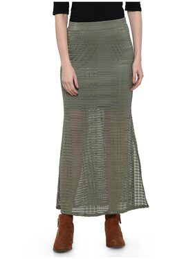 Smarty Pants military Green lace-fabric full Length Skirt