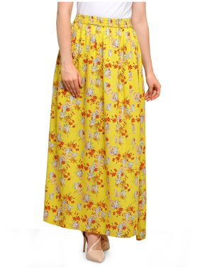 Smarty Pants Women Rayon Yellow Floral Print Maxi Skirt SMSK-147