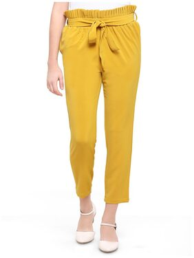 Smarty Pants Women's Poly Lycra Mustard Pleated Trouser