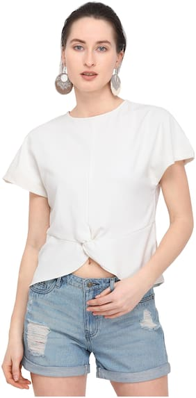 Smarty Pants Women Blended Solid - Regular Top White
