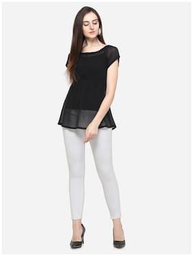 Smarty Pants Women Chiffon Solid - Regular tunic Black
