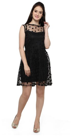 Smarty Pants women's black solid ruffles dress.