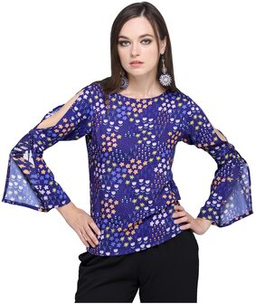 Smarty Pants Women's Blue Floral Bell Sleeve Variations Top