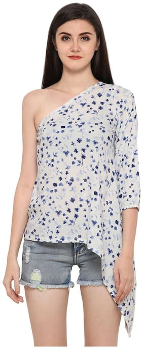 Smarty Pants Rayon One Shoulder Top for Women - White & Blue Floral Print