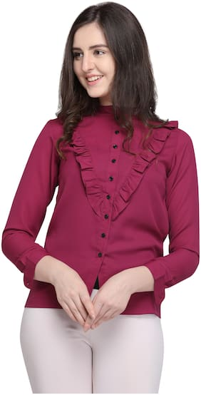 Smarty Pants Women Polyester Solid - Regular top Maroon