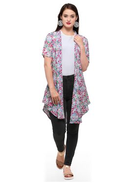 Smarty Pants Women Multi Colour Floral Print Half Sleeve Mid Length Shrug SMSH-140