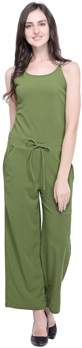 Smarty Pants Solid Jumpsuit - Green