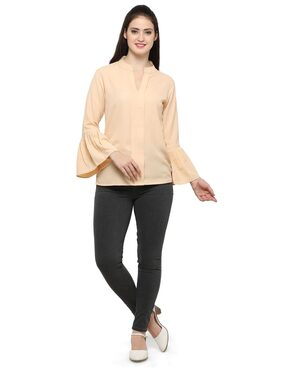 Smarty pants woman's hazzle nut bell sleeves top.