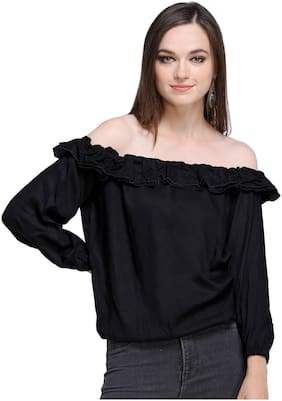 Smarty Pants Women Rayon Solid - Regular top Black