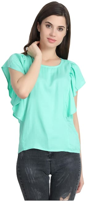Snayati Rayon Solid Women A-Line Top - Turquoise