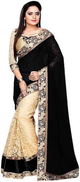 SNH EXPORT Georgette Universal Black & Beige  SareeWith Blouse