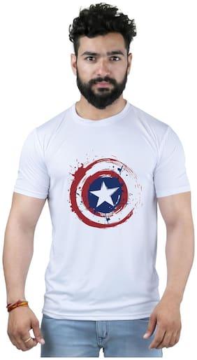 Snoby Men Regular fit Crew neck Printed T-Shirt - White