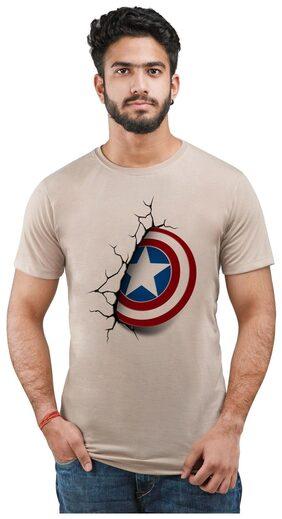 Snoby Men Regular Fit Round Neck Printed T-Shirt - Beige