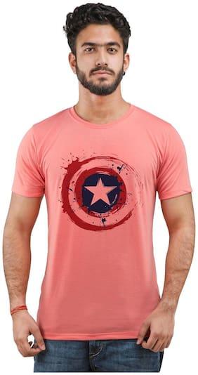 Snoby Men Regular fit Round neck Printed T-Shirt - Pink
