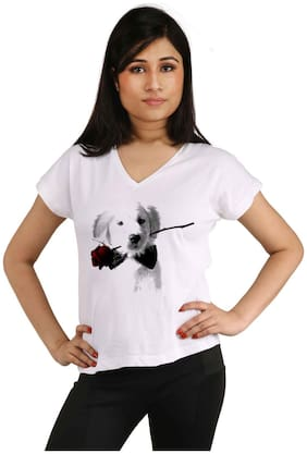 Snoby Dog with rose printed t-shirt